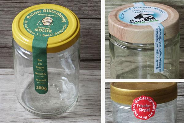 siegeletiketten honiggläser