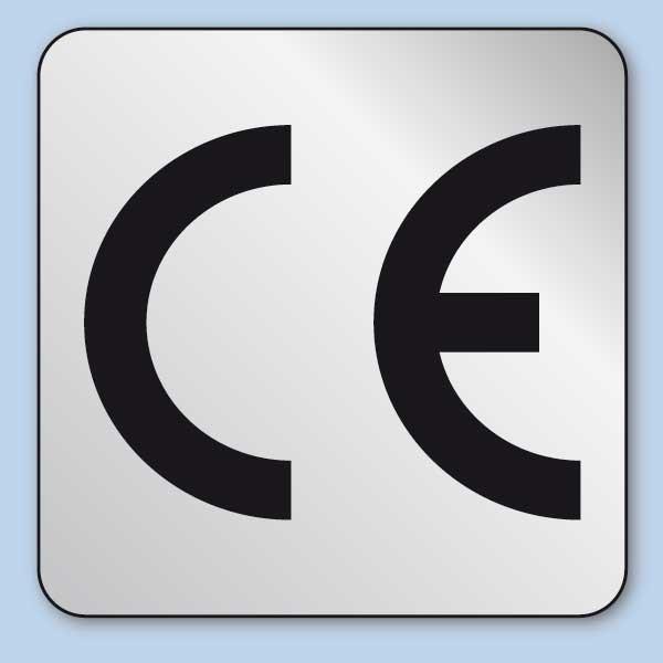 CE Zeichen Aufkleber silber