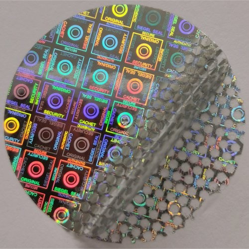 Hologrammsiegel, silber, selbstklebend