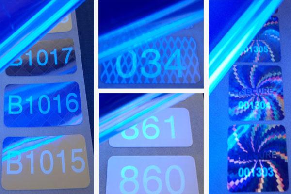 Etiketten mit Nummern - erst unter Schwarzlicht (UV-Licht) sichtbar
