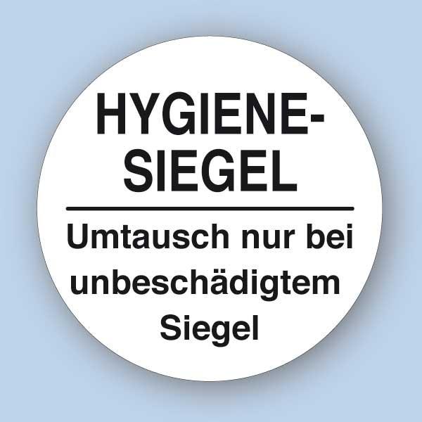 Hygienesiegel, rund 32x32 mm, Umtausch nur bei unbeschädigtem Siegel