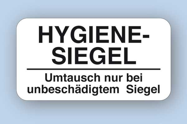 Hygienesiegel - Umtausch nur bei unbeschädigtem Siegel, rechteckig 28x15 mm