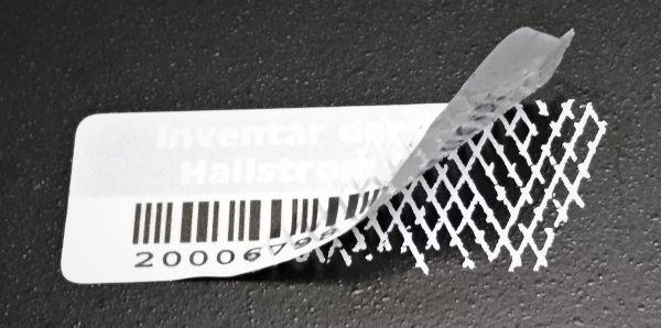 Barcode Etikett aus Sicherheitsfolie (Rautenmusterfolie, weiß)