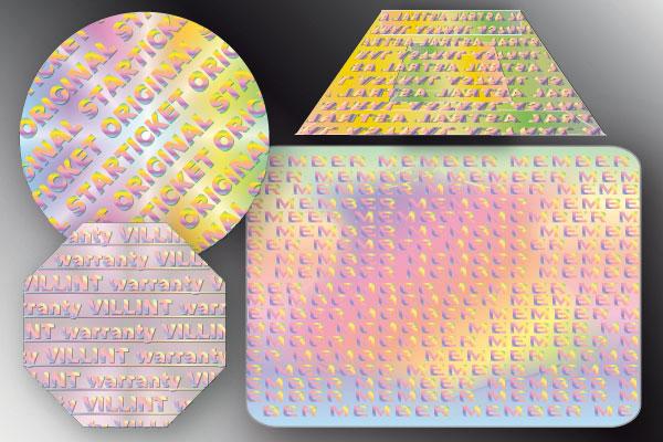 hologramme mit endlos-schriftzug