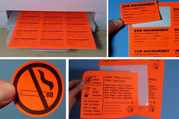 Leuchtfarben Etiketten auf DIN A4 Inkjet-Bogen