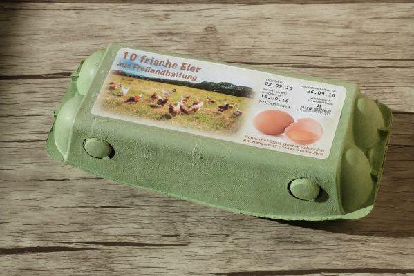 Aufkleber für Eierschachteln