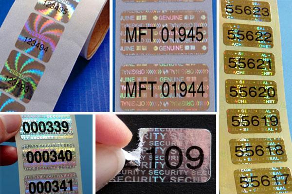 Hologrammetiketten mit Nummern
